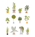 Set of twelve green floor plants in retro pots vector image
