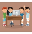 group friends gamers happy online with laptop vector image