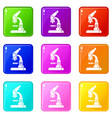 microscope icons 9 set vector image vector image