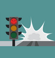 traffic light on the road running a red light vector image