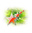 red stars on the green background vector image vector image