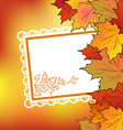 Autumn maple leaves with floral greeting card vector image