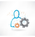 Person with mechanism grunge icon vector image