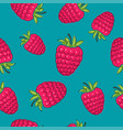 seamless pattern raspberries on azure background vector image
