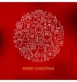 Thin Line Merry Christmas Holiday Icons Set Circle vector image