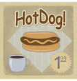 Vintage postcard and a picture of hot dogs eps10 vector image