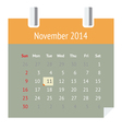 Calendar page for November 2014 vector image