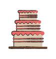 birthday tower pink cake vector image