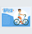 boy cycling on bicycle boys banner for vector image