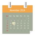 Calendar page for November 2014 vector image