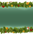 Green Christmas Background with Garland vector image