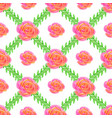 seamless wallpaper with rose and green bruhches vector image