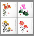 set of card with flowers in orental style vector image
