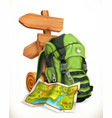 travel map tourist backpack and road sign 3d icon vector image vector image