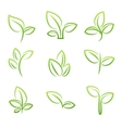 Leaf simbol Set of green leaves design elements vector image
