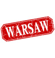 Warsaw red square grunge retro style sign vector image