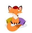 Cute cartoon sleepy fox on the pillows vector image vector image