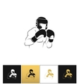 Boxer silhouette or boxing combat icon vector image