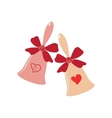 Elegant wedding bells with hearts over white vector image