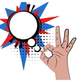 Hand sign pop art white round bubble color back vector image