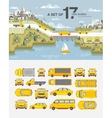 Set cars and buildings with road near sea vector image