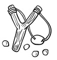 Simple black and white slingshot vector image