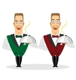 waiter holding silver serving dome vector image
