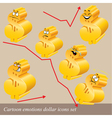 emotions dollar icon set vector image vector image