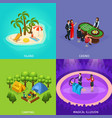 isometric people recreation concept vector image