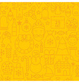 Thin Line Holiday Christmas Yellow Seamless vector image