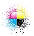 Creative CMYK pixelated design vector image vector image