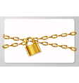 The golden metal chain and padlock handcuffed card vector image