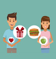 Colorful poster half body couple man and woman and vector image