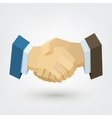 Conceptual polygonal businessman handshake vector image