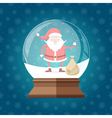 Magic glass snow globe with cute and happy Santa vector image