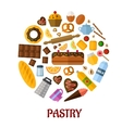 Pastry flat icons vector image