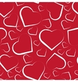 Seamless pattern with white hearts on red vector image