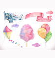 watercolor air kite airplane cotton candy and vector image