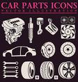 Car parts icons set auto service repair tool vector image