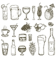 Set of Sketch Cocktails and Alcohol Drinks vector image vector image