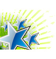 blue stars on the green background vector image vector image