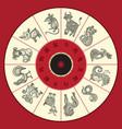 chinese zodiac wheel with twelve vector image