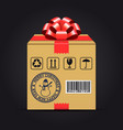 christmas shipping gift box vector image