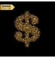 Gold glitter icon of dollar isolated on vector image