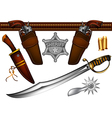 set of sheriffs weapons and accessories vector image