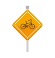 yellow sign bike attention icon vector image