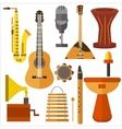 Set musical instruments guitar gramophone vector image