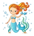 Cute swimming cartoon mermaid vector image