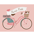 Vintage Poster of a Bike and a Picnic Basket vector image