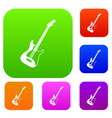 acoustic guitar set color collection vector image